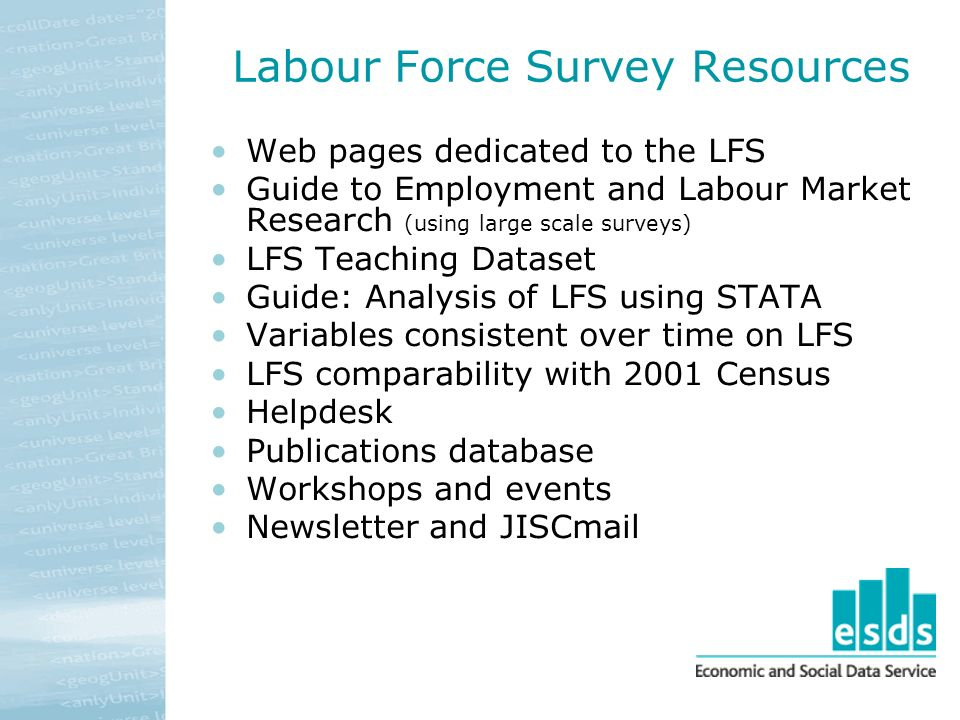 Labour Force Survey Resources Web pages dedicated to the LFS Guide to Employment and Labour Market Research (using large scale surveys) LFS Teaching Dataset Guide: Analysis of LFS using STATA Variables consistent over time on LFS LFS comparability with 2001 Census Helpdesk Publications database Workshops and events Newsletter and JISCmail