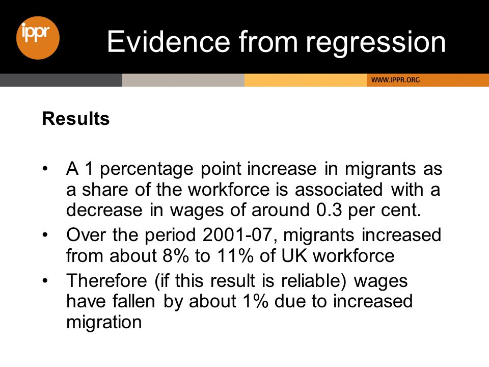 Evidence from regression Results A 1 percentage point increase in migrants as a share of the workforce is associated with a decrease in wages of around 0.3 per cent.
