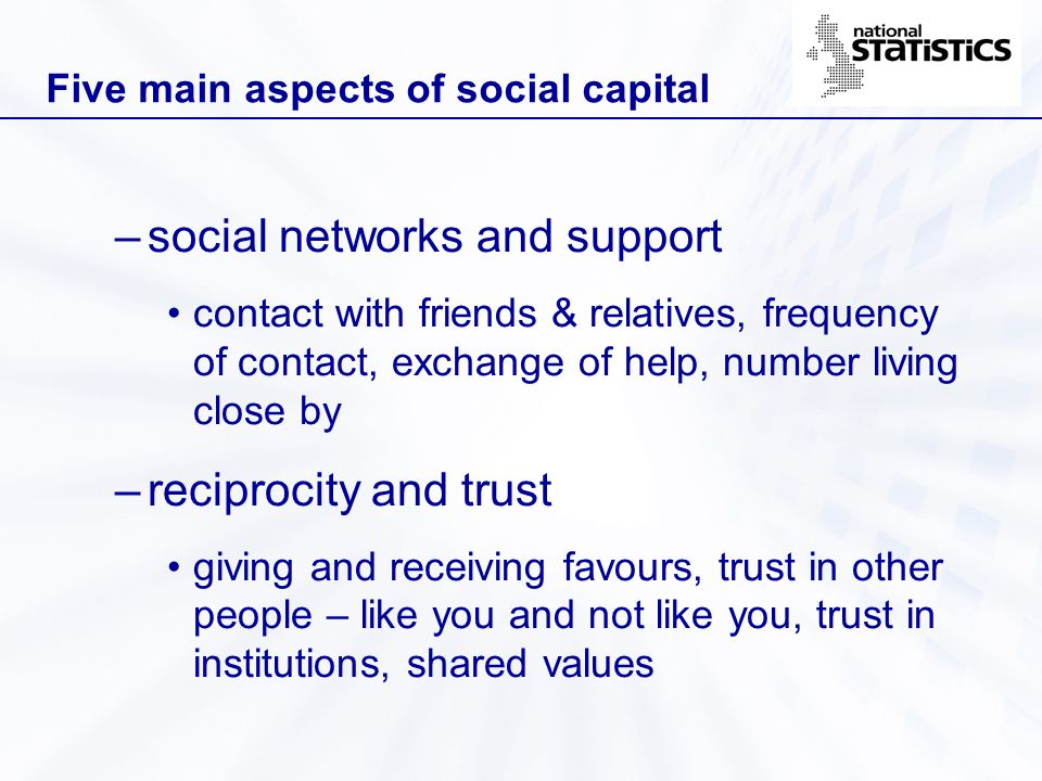 Five main aspects of social capital –social networks and support contact with friends & relatives, frequency of contact, exchange of help, number livi