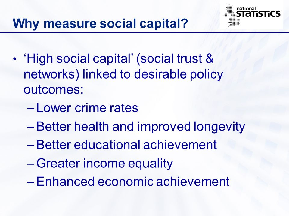 Why measure social capital? High social capital (social trust & networks) linked to desirable policy outcomes: –Lower crime rates –Better health and i