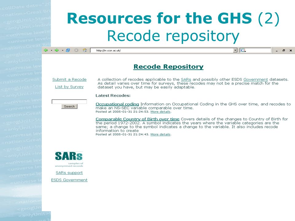 Resources for the GHS (2) Recode repository