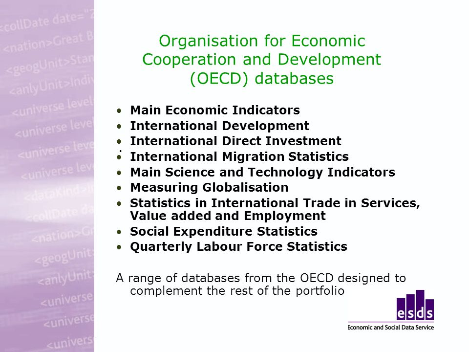 Organisation for Economic Cooperation and Development (OECD) databases Main Economic Indicators International Development International Direct Investment International Migration Statistics Main Science and Technology Indicators Measuring Globalisation Statistics in International Trade in Services, Value added and Employment Social Expenditure Statistics Quarterly Labour Force Statistics A range of databases from the OECD designed to complement the rest of the portfolio.