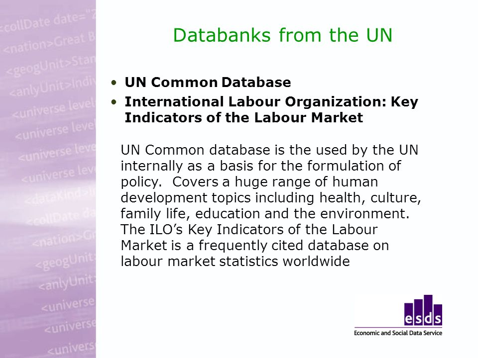 Databanks from the UN UN Common Database International Labour Organization: Key Indicators of the Labour Market UN Common database is the used by the UN internally as a basis for the formulation of policy.