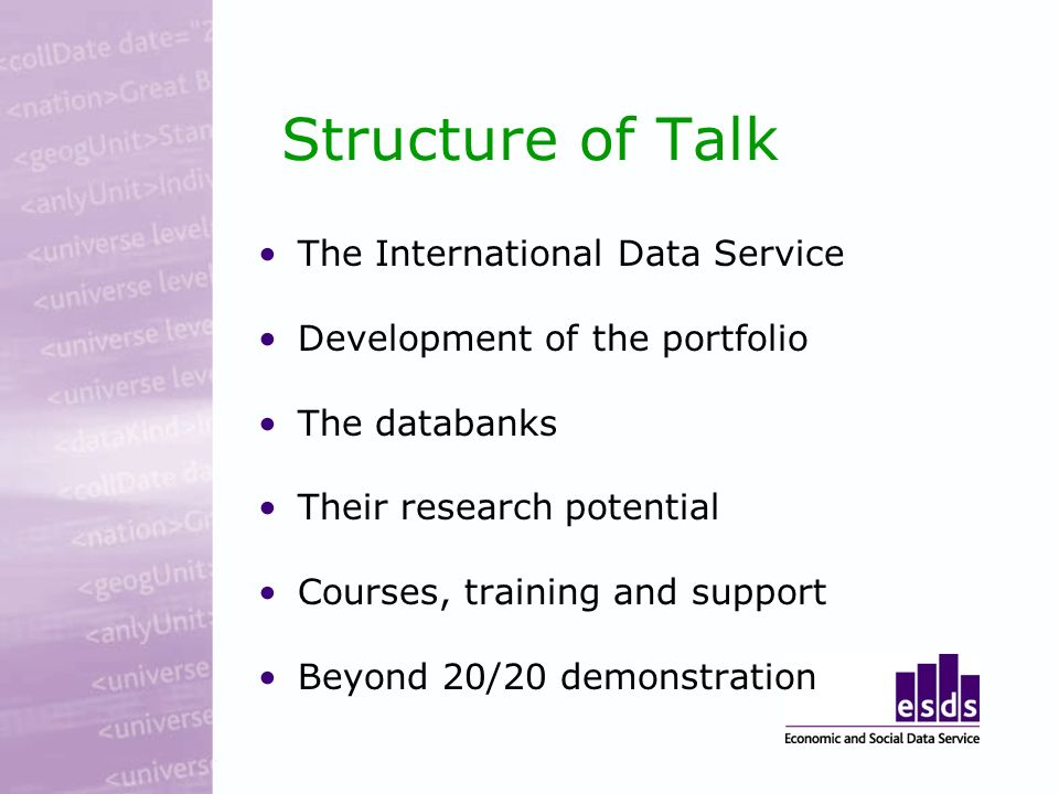 Structure of Talk The International Data Service Development of the portfolio The databanks Their research potential Courses, training and support Beyond 20/20 demonstration