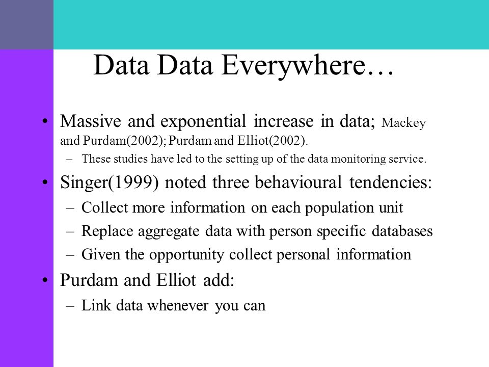 Data Data Everywhere… Massive and exponential increase in data; Mackey and Purdam(2002); Purdam and Elliot(2002). –These studies have led to the setti