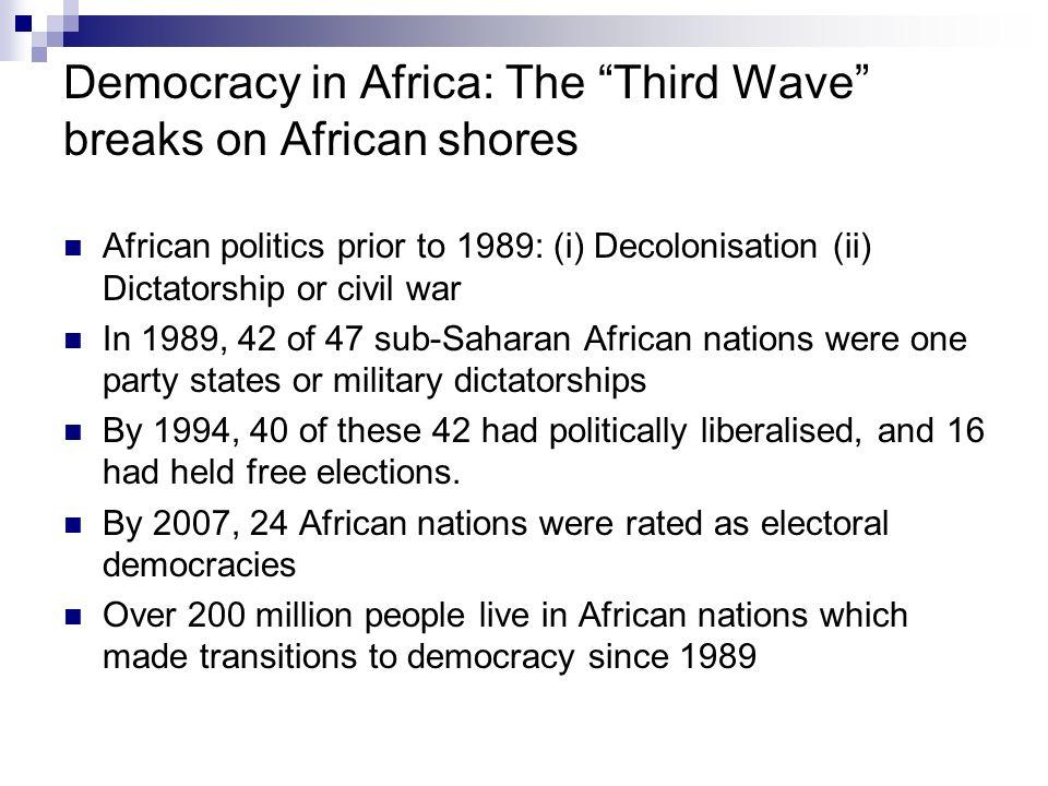 CountryFounding Election Established Botswana1966 African Zimbabwe1980-2000 Democracies Senegal1981 Namibia1990 Benin, Cape Verde Islands, Zambia1991 Third Wave Kenya, Madagascar, Mali1992 Democracies Lesotho1993 Malawi, Mozambique, South Africa 1994 Ghana1996 Nigeria1999-2007 Dysfunctional or Zimbabwe1980 (RIP: c.2000) Deceased Tanzania1995 Democracies Nigeria1999 (RIP c.2007) Uganda2001