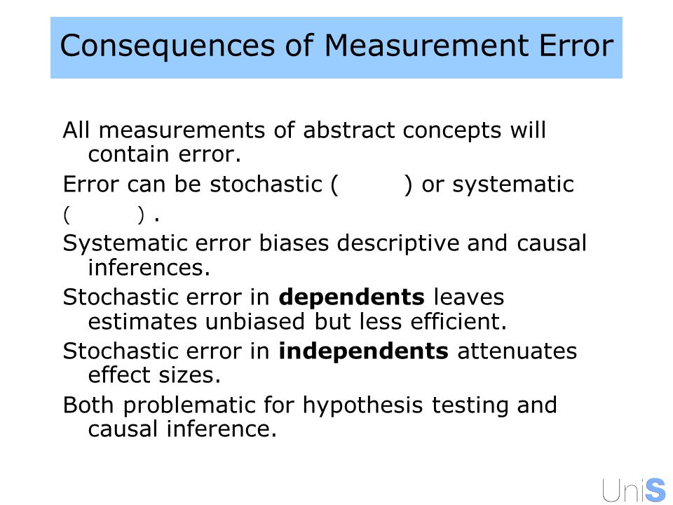Consequences of Measurement Error All measurements of abstract concepts will contain error.