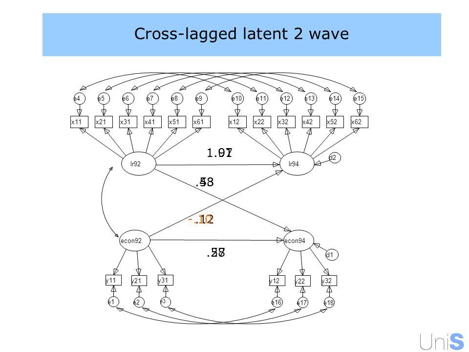 Cross-lagged latent 2 wave 1.01.58.12.53.97.48 -.10.27 econ92 y31 e3 y21 e2 y11 e1 lr92 x11 e4 x21 e5 x31 e6 x41 e7 x51 e8 x61 e9 econ94 y32 e18 y22 e17 y12 e16 lr94 x12 e10 x22 e11 x32 e12 x42 e13 x52 e14 x62 e15 d1 d2