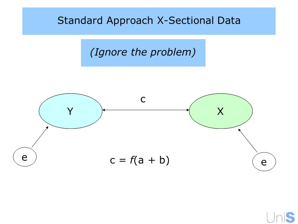Standard Approach X-Sectional Data YX e YX e c (Ignore the problem) c = f(a + b)