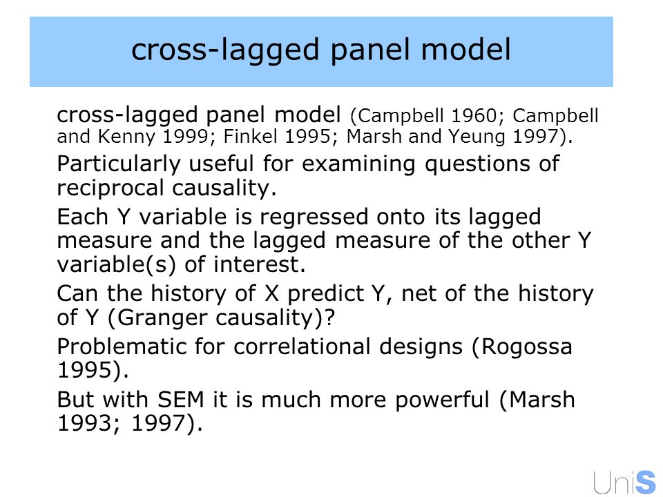 cross-lagged panel model cross-lagged panel model (Campbell 1960; Campbell and Kenny 1999; Finkel 1995; Marsh and Yeung 1997).