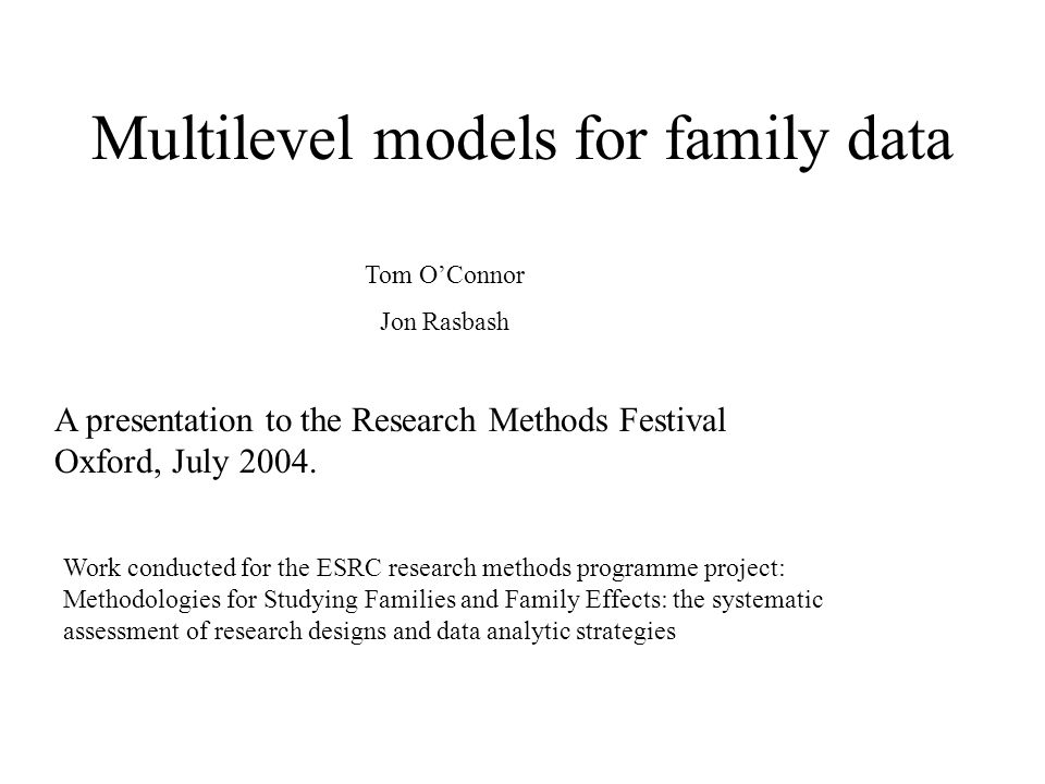 The presentation looks at three applications of multilevel modelling to family data 1.Using multilevel models to explore the determinants of differential parental treatment of children.
