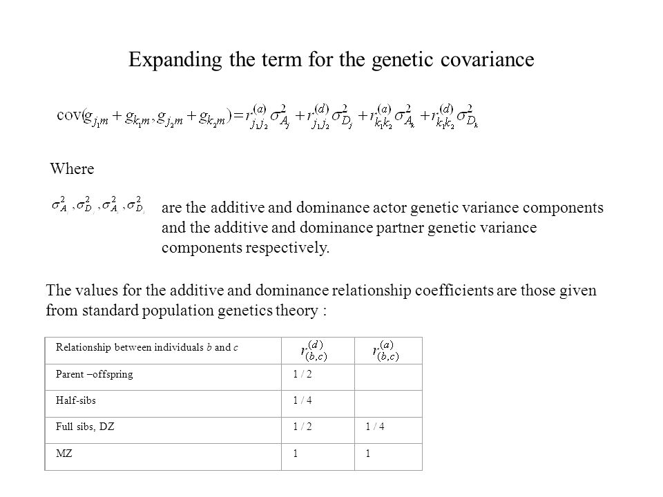 Expanding the term for the genetic covariance Where are the additive and dominance actor genetic variance components and the additive and dominance partner genetic variance components respectively.