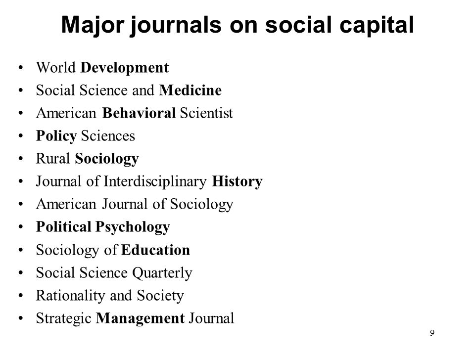 9 Major journals on social capital World Development Social Science and Medicine American Behavioral Scientist Policy Sciences Rural Sociology Journal of Interdisciplinary History American Journal of Sociology Political Psychology Sociology of Education Social Science Quarterly Rationality and Society Strategic Management Journal
