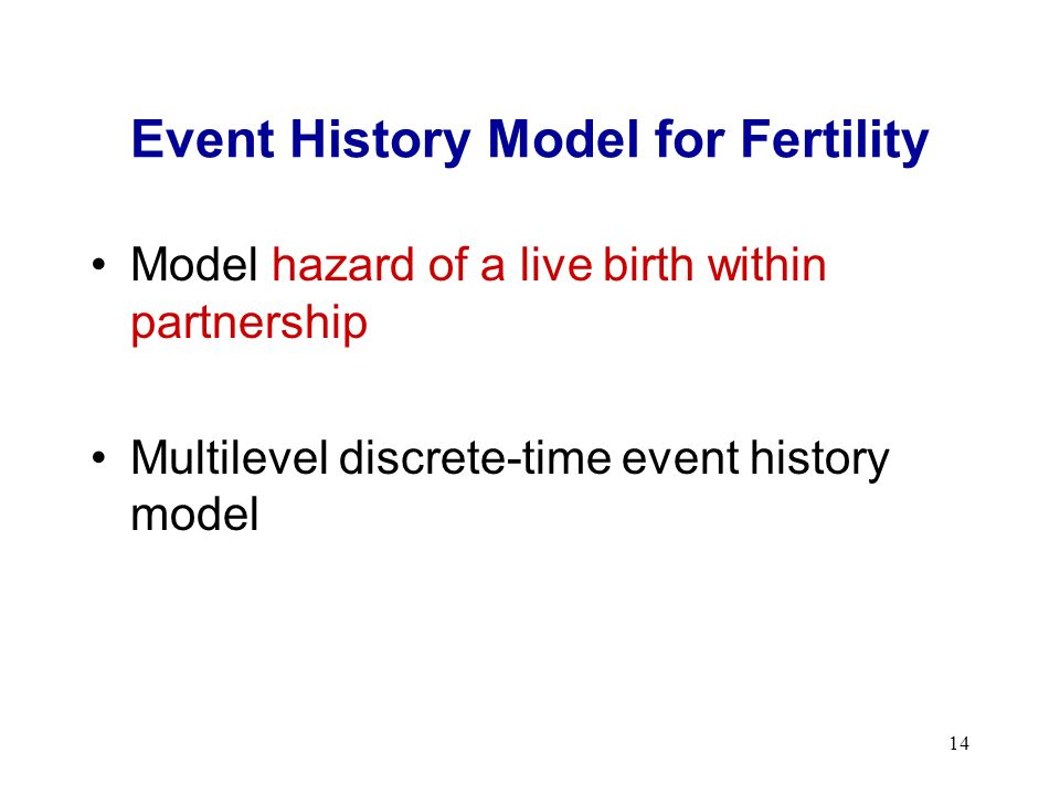 14 Event History Model for Fertility Model hazard of a live birth within partnership Multilevel discrete-time event history model