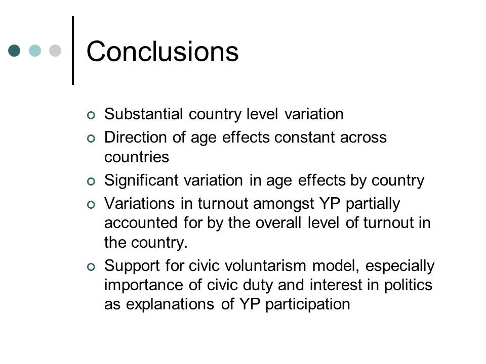 Conclusions Substantial country level variation Direction of age effects constant across countries Significant variation in age effects by country Variations in turnout amongst YP partially accounted for by the overall level of turnout in the country.