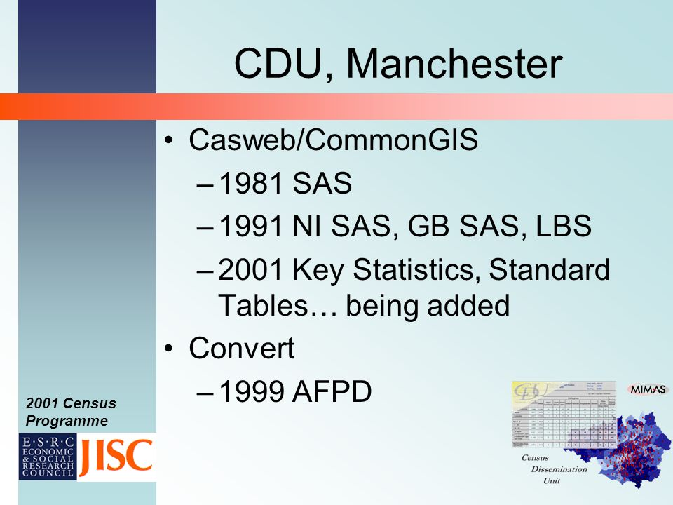 2001 Census Programme CDU, Manchester Casweb/CommonGIS –1981 SAS –1991 NI SAS, GB SAS, LBS –2001 Key Statistics, Standard Tables… being added Convert –1999 AFPD