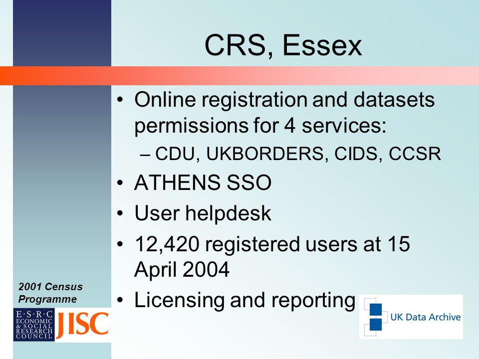 2001 Census Programme CRS, Essex Online registration and datasets permissions for 4 services: –CDU, UKBORDERS, CIDS, CCSR ATHENS SSO User helpdesk 12,420 registered users at 15 April 2004 Licensing and reporting