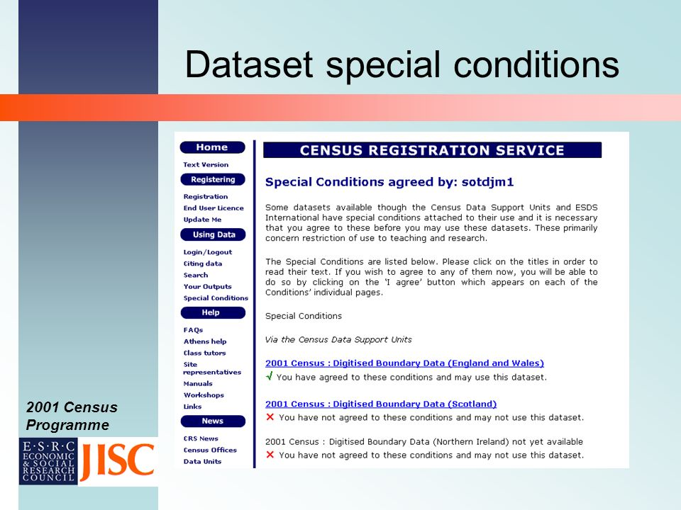 2001 Census Programme Dataset special conditions