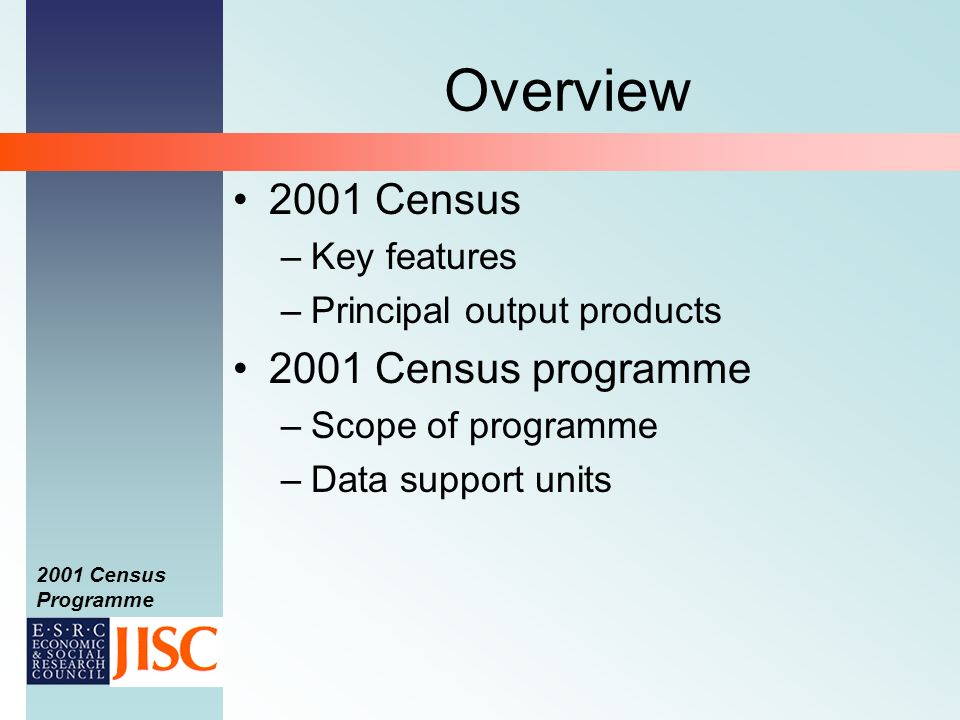 2001 Census Programme Overview 2001 Census –Key features –Principal output products 2001 Census programme –Scope of programme –Data support units