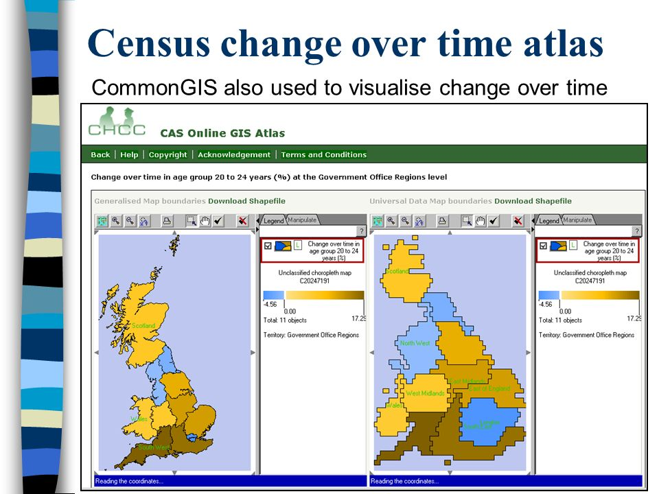 Census change over time atlas CommonGIS also used to visualise change over time