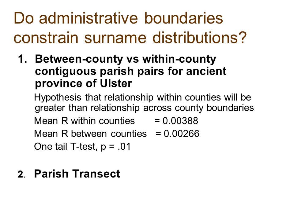 Do administrative boundaries constrain surname distributions.