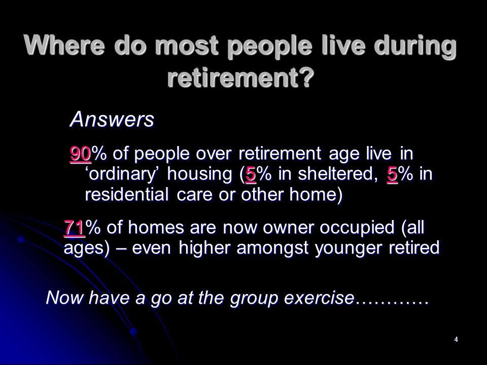 4 Where do most people live during retirement.
