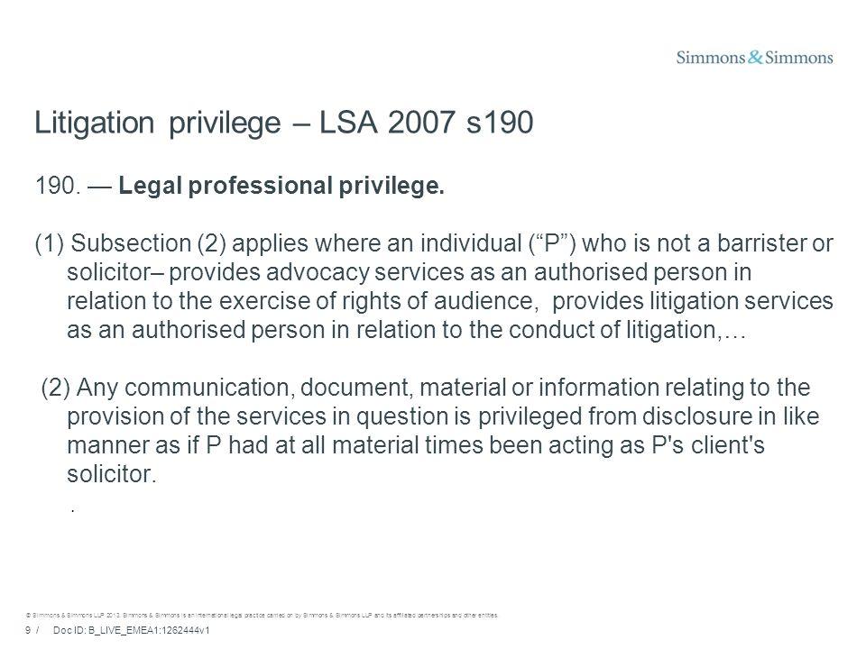 9 / Doc ID: B_LIVE_EMEA1:1262444v1 © Simmons & Simmons LLP 2013.