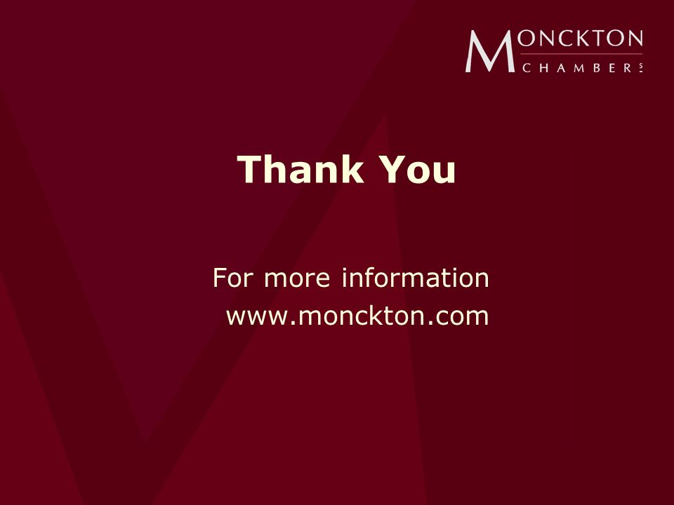 Thank You For more information www.monckton.com
