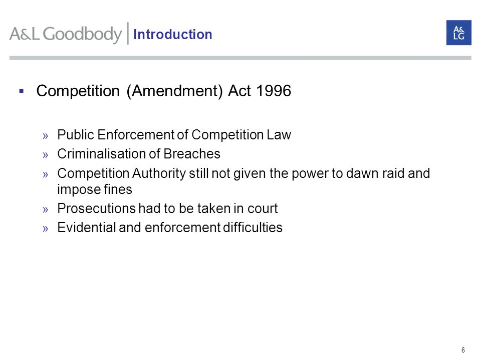 6 Competition (Amendment) Act 1996 » Public Enforcement of Competition Law » Criminalisation of Breaches » Competition Authority still not given the p