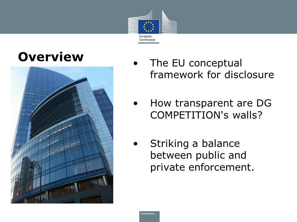 Overview The EU conceptual framework for disclosure How transparent are DG COMPETITION's walls? Striking a balance between public and private enforcem