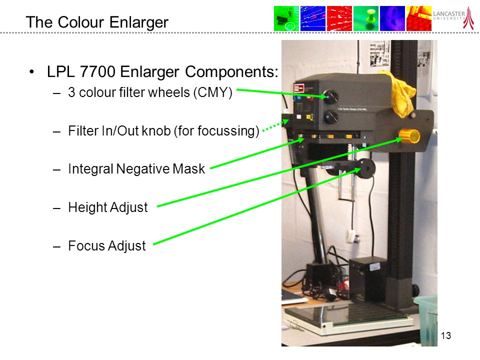 13 The Colour Enlarger LPL 7700 Enlarger Components: –3 colour filter wheels (CMY) –Filter In/Out knob (for focussing) –Integral Negative Mask –Height Adjust –Focus Adjust