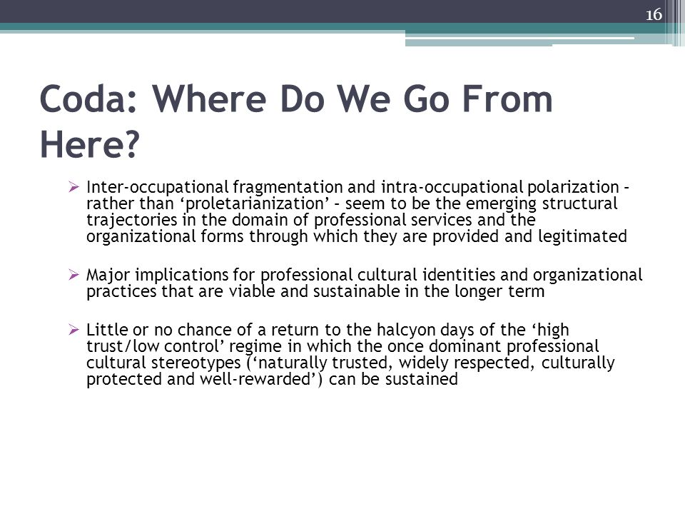 Coda: Where Do We Go From Here.