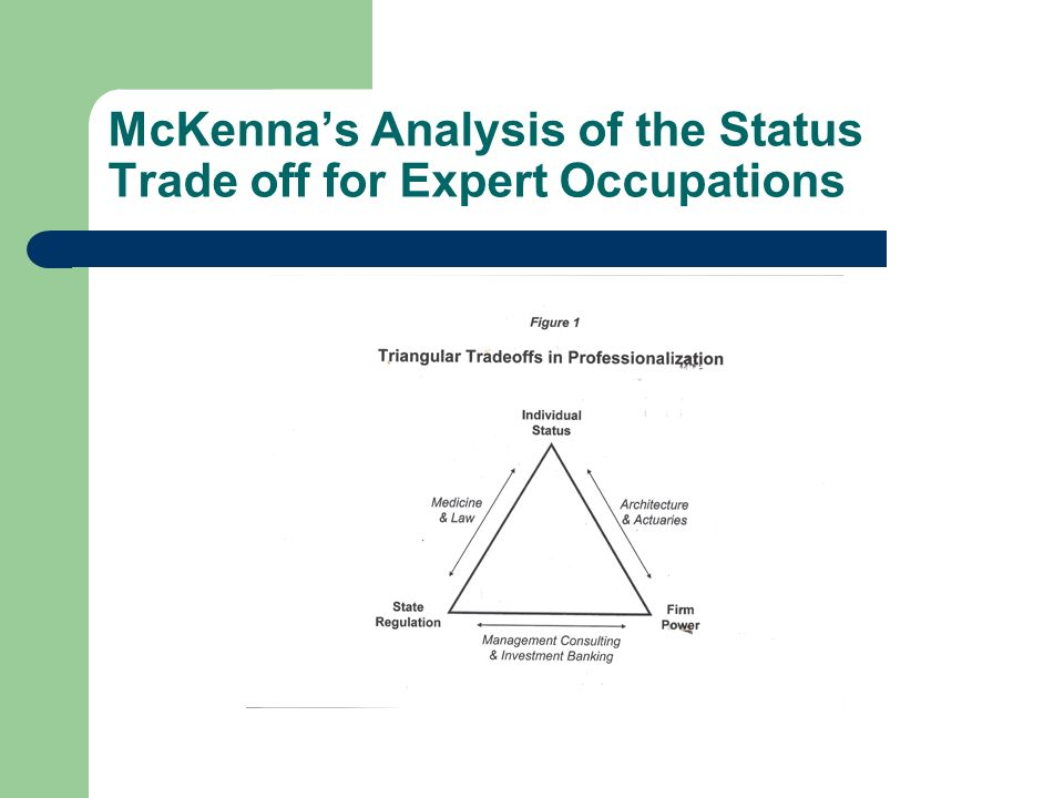 McKennas Analysis of the Status Trade off for Expert Occupations