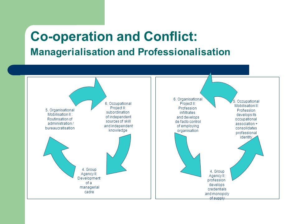 Co-operation and Conflict: Managerialisation and Professionalisation 6. Occupational Project II: subordination of independent sources of skill and ind