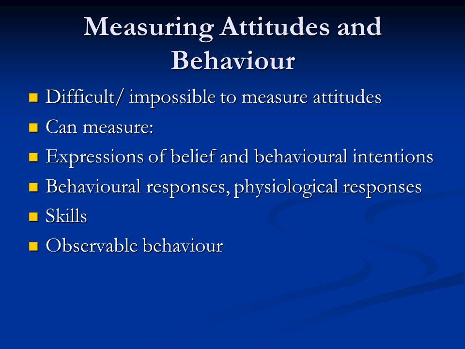 Measuring Attitudes and Behaviour Difficult/ impossible to measure attitudes Difficult/ impossible to measure attitudes Can measure: Can measure: Expr