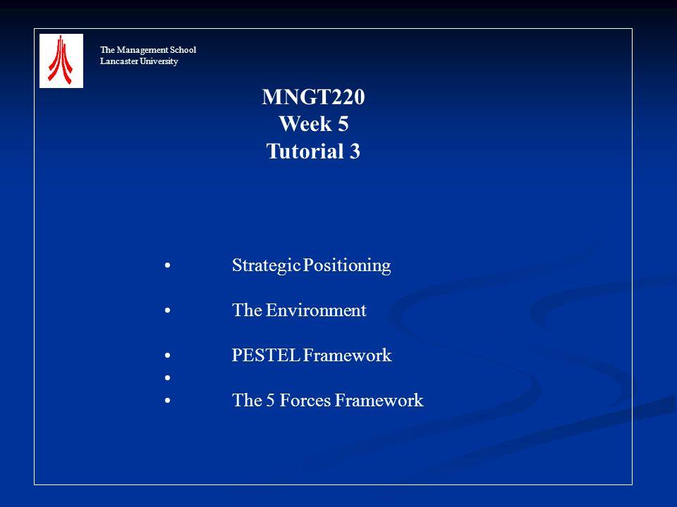 The Management School Lancaster University MNGT220 Week 5 Tutorial 3 Strategic Positioning The Environment PESTEL Framework The 5 Forces Framework