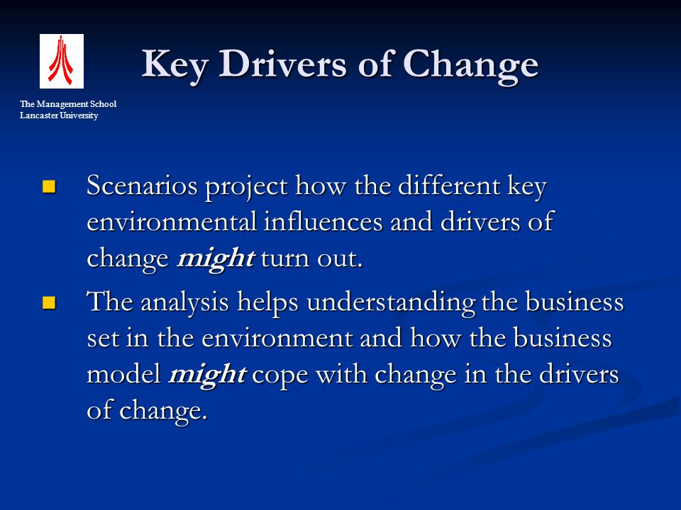 Key Drivers of Change Scenarios project how the different key environmental influences and drivers of change might turn out.