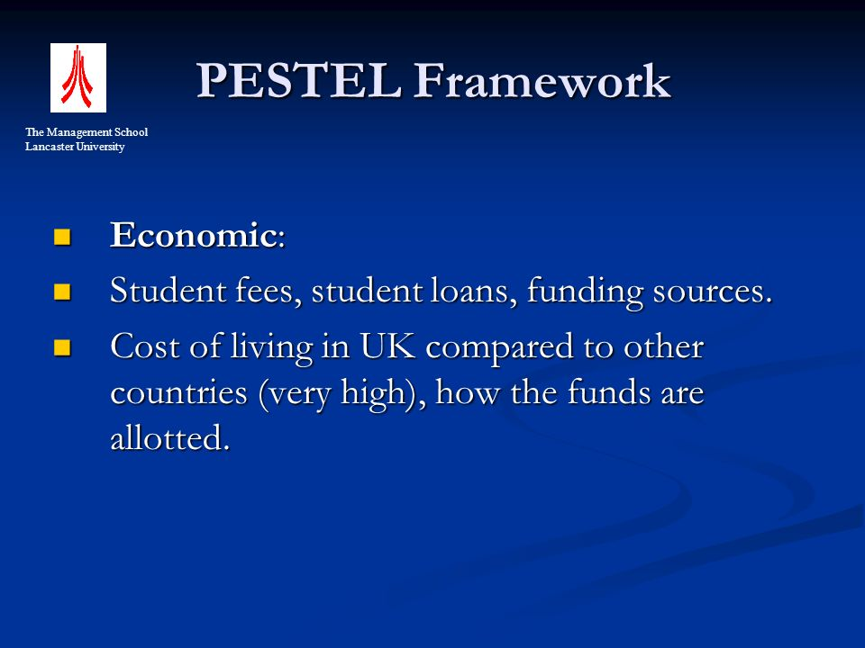 PESTEL Framework Economic: Economic: Student fees, student loans, funding sources.