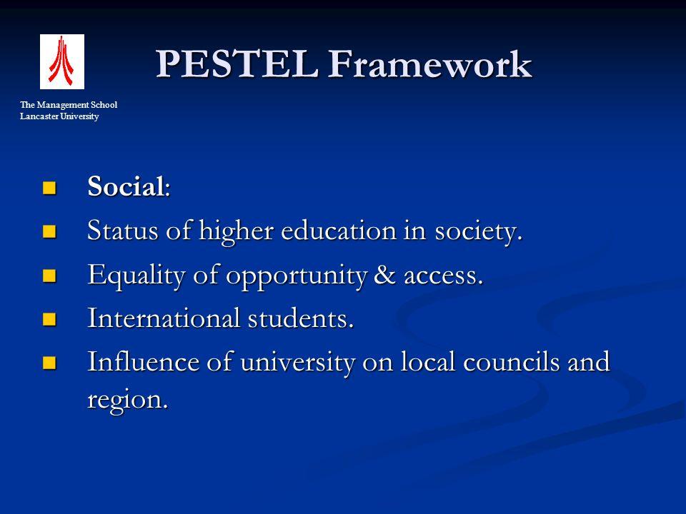 PESTEL Framework Social: Social: Status of higher education in society.