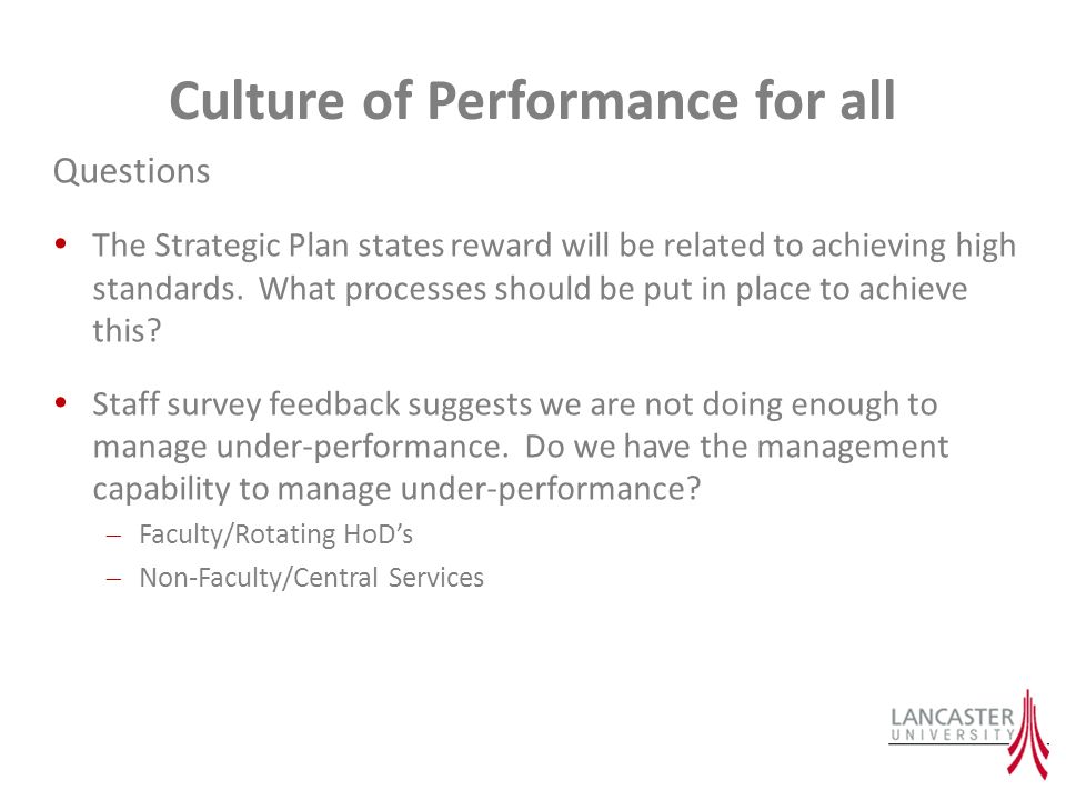 Culture of Performance for all Questions The Strategic Plan states reward will be related to achieving high standards.