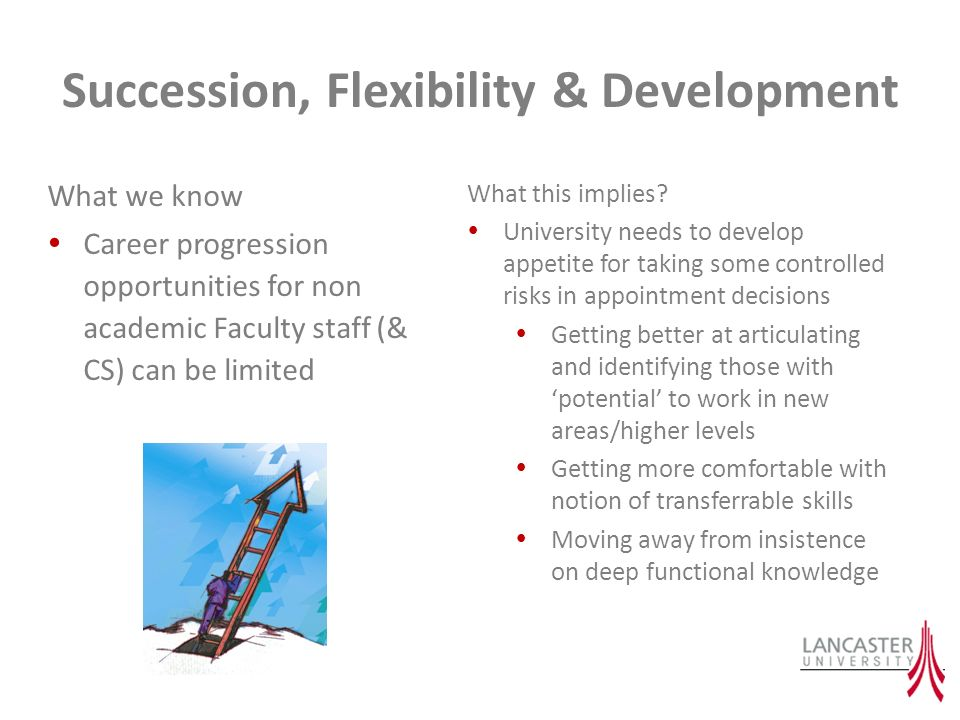 Succession, Flexibility & Development What we know Career progression opportunities for non academic Faculty staff (& CS) can be limited What this imp