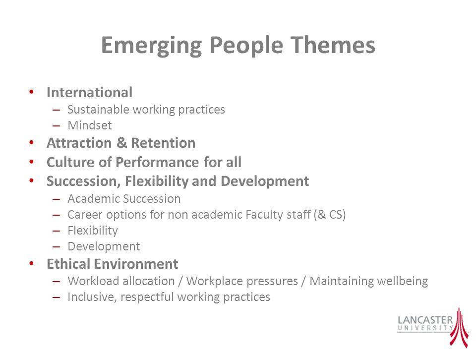 Emerging People Themes International – Sustainable working practices – Mindset Attraction & Retention Culture of Performance for all Succession, Flexibility and Development – Academic Succession – Career options for non academic Faculty staff (& CS) – Flexibility – Development Ethical Environment – Workload allocation / Workplace pressures / Maintaining wellbeing – Inclusive, respectful working practices