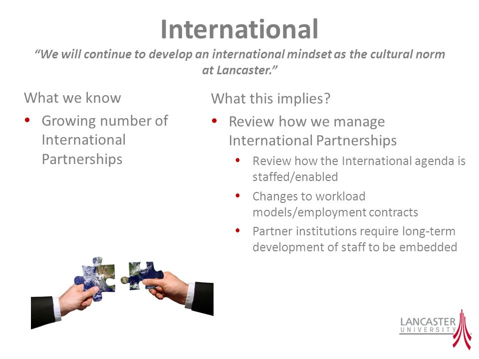 International We will continue to develop an international mindset as the cultural norm at Lancaster.
