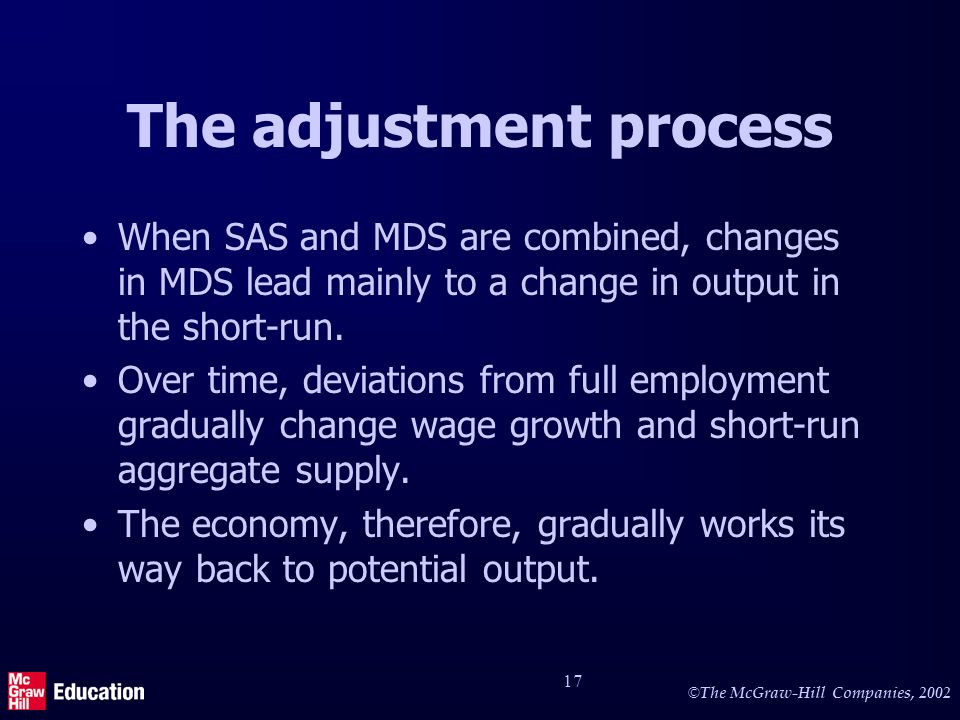 © The McGraw-Hill Companies, 2002 17 The adjustment process When SAS and MDS are combined, changes in MDS lead mainly to a change in output in the short-run.
