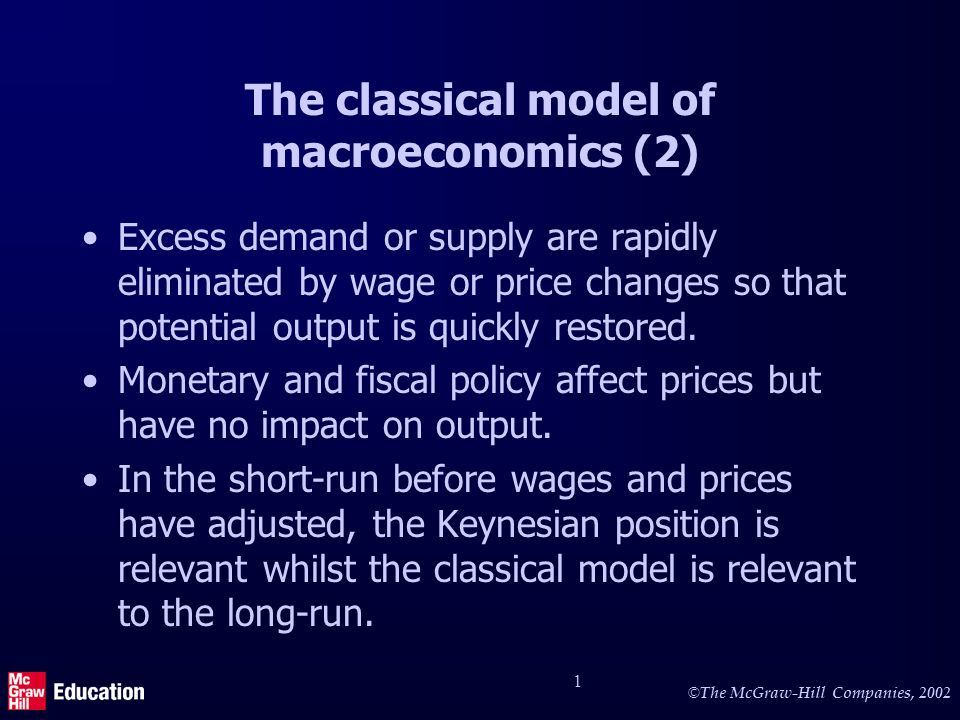 © The McGraw-Hill Companies, 2002 1 Excess demand or supply are rapidly eliminated by wage or price changes so that potential output is quickly restored.