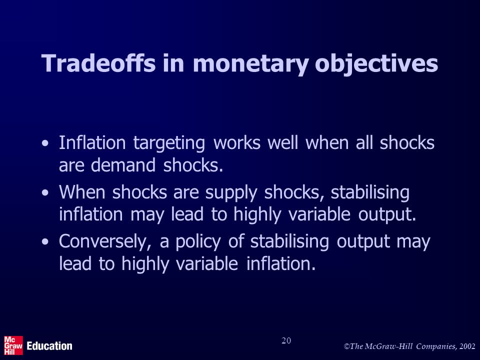 © The McGraw-Hill Companies, 2002 20 Tradeoffs in monetary objectives Inflation targeting works well when all shocks are demand shocks.