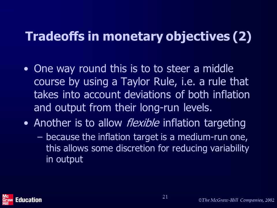 © The McGraw-Hill Companies, 2002 21 Tradeoffs in monetary objectives (2) One way round this is to to steer a middle course by using a Taylor Rule, i.e.