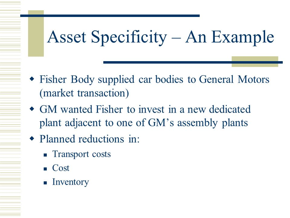 Asset Specificity – An Example Fisher refused – they were afraid of ex-post opportunism in the form of pressure to reduce prices GM eventually acquired Fisher This strategy to reduce transactions costs was: Internalization Vertical Integration In-sourcing