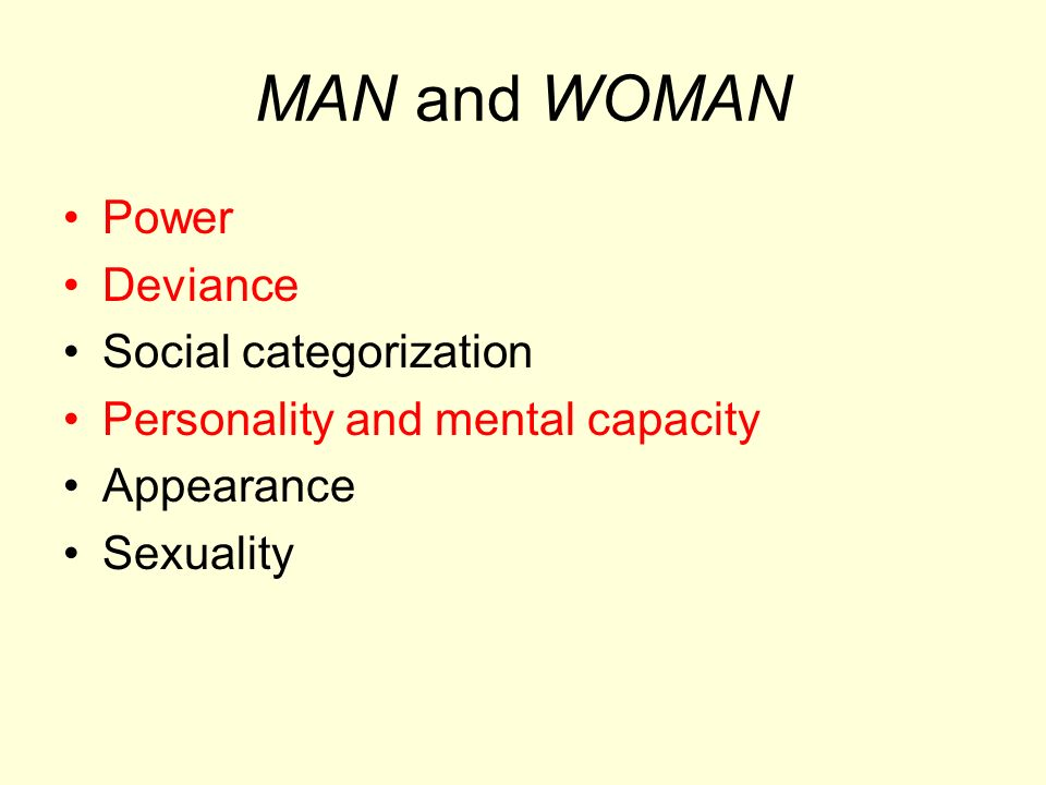 MAN and WOMAN Power Deviance Social categorization Personality and mental capacity Appearance Sexuality