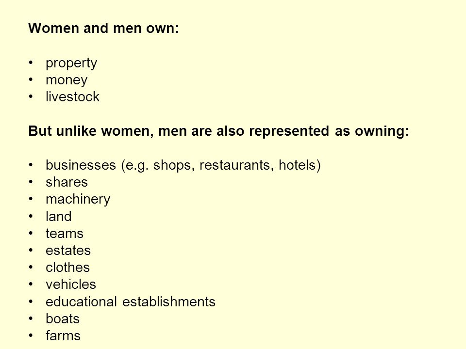 Women and men own: property money livestock But unlike women, men are also represented as owning: businesses (e.g. shops, restaurants, hotels) shares